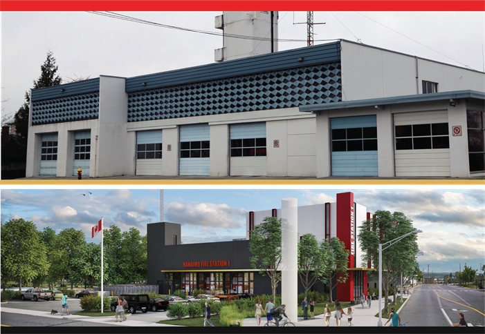 Current fire station and new station concept