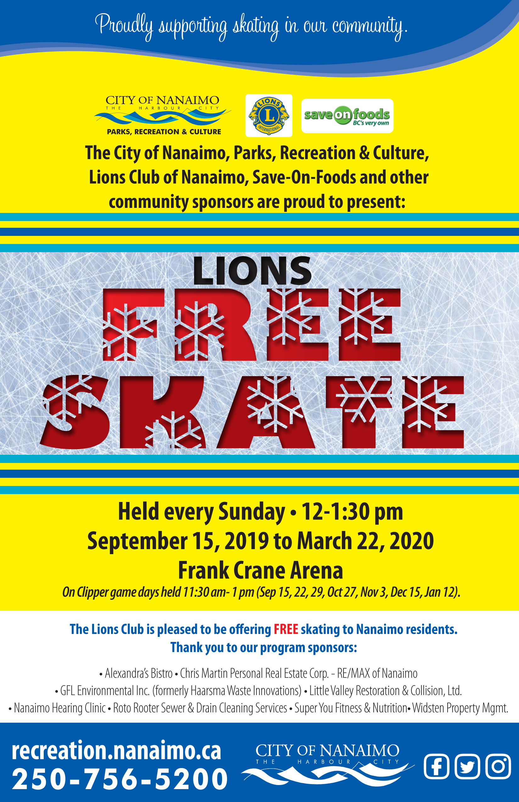 LionsFreeSkate poster 2019 fall winter