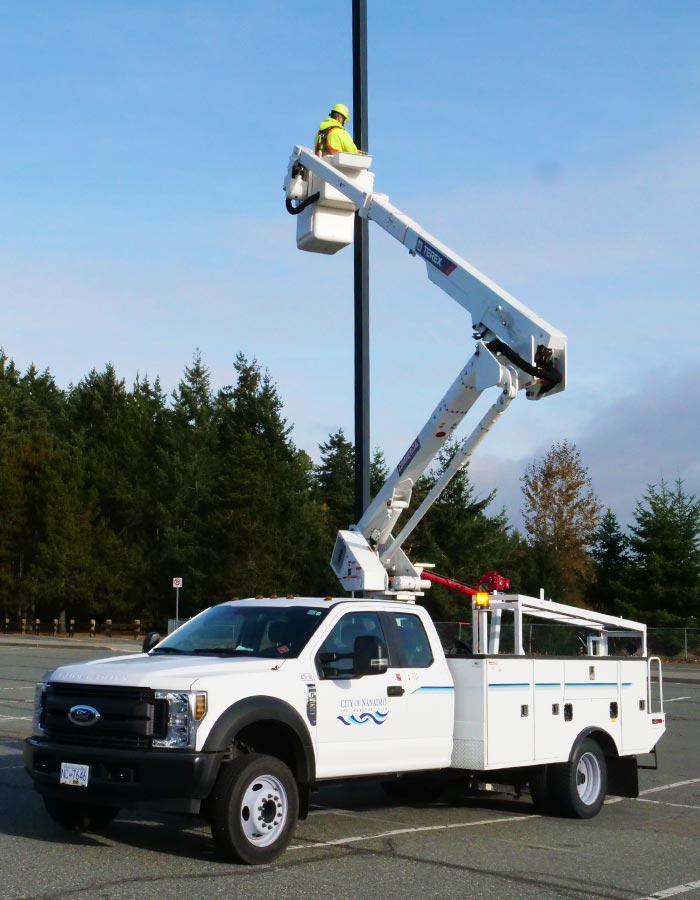 bucket truck in action