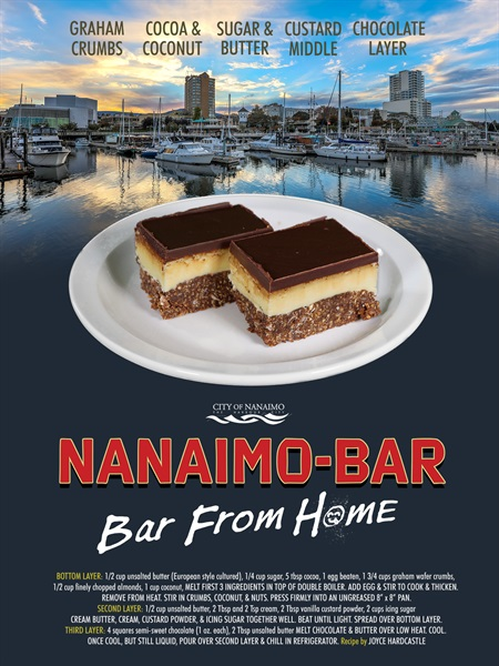 A fake movie poster showing the Nanaimo bar in front of our harbour