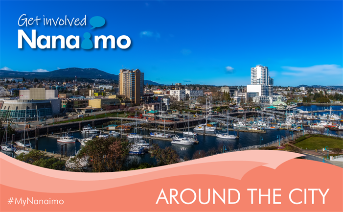 Around the City header image - view of Nanaimo towards Mt. Benson