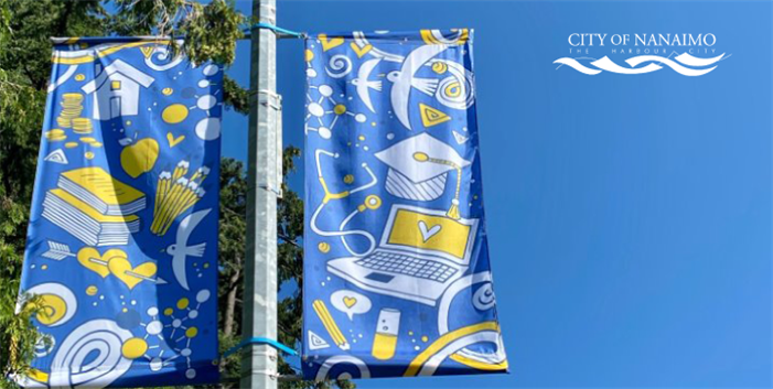 Image of new street banners designed by Amy Pye