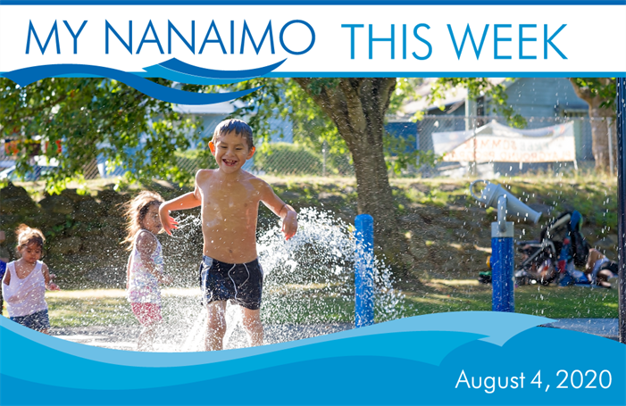 My Nanaimo this week for August 4 header image of child playing in waterpark