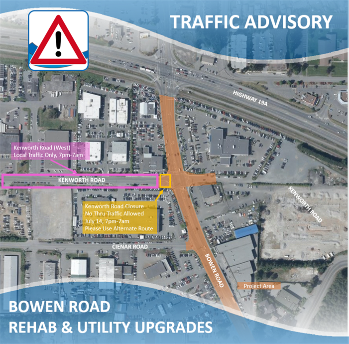 Map of Bowen Road construction
